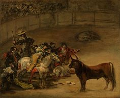 Reproduction Painting Francisco De Goya Bullfight, Suerte de Varas, Hand-Painted Reproductions Art Oil On Canvas Pierre Auguste Renoir, Edouard Manet, Paul Gauguin, Mark Rothko, Francisco Goya Paintings, Rococo, Savage Animals, Francisco Jose, Oil On Canvas