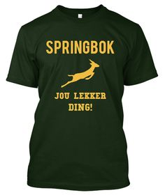 South Africans adore their Springboks. Show your love with this shirt! South African Rugby, Cape Town South Africa, Rugby World Cup, Africans, Printed Tees, Birth, Hobbies, Southern, Printing