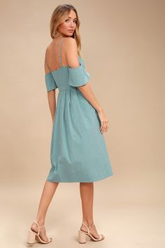 Lulus Exclusive! Capture hearts in the I've Got Love Slate Blue Off-the-Shoulder Midi Dress! This breezy, woven cotton dress is sweet as can be, with off-the-shoulder sleeves and a sweetheart neckline, supported by adjustable skinny straps. Full button placket (with modesty snaps) travels down the princess-seamed bodice, banded waist, and flaring midi skirt.