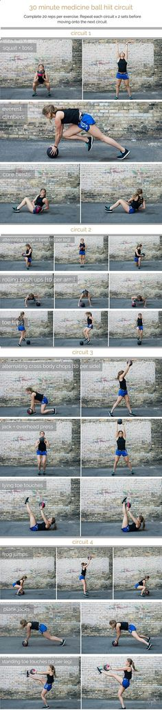 combine cardio, strength and stability in this medicine ball hiit circuit; a total body workout that you can do in 30 minutes or less.
