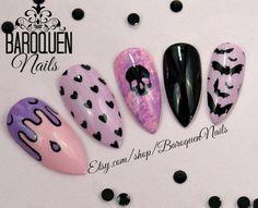 Creepy Cute Pastel Goth Nails Kawaii Grunge Nail Art | Bubblegum | Made To Order- DIY Fake Nails, False Nails, Press On Nails, Glue On Nails