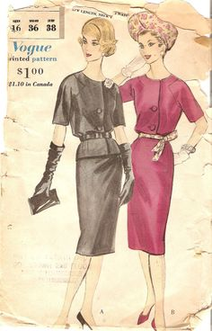 Wiggle Dress Pattern or Two Piece Dress by CherryCorners, Dress Making Patterns, Vintage Dress Patterns, Vogue Sewing Patterns, Clothing Patterns, Vintage Vogue, Vintage Fashion, Vintage Style, Classic Outfits, Classic Clothes