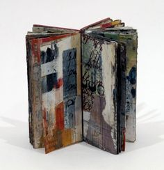 "Linda Welch  "" proceed as before "" - Unique Artist Book  4.5 x 2.25 x 1.5 inches , Mixed media, 28 pages, coptic binding 2011"