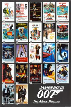 Details: This poster shows 22 movie posters for the various James Bond movies. At the bottom it says 'James Bond The Movie Posters'. James Bond Movie Posters, James Bond Movies, Film Posters, Bond Cars, Roger Moore, About Time Movie, Movie Stars, Poster Prints, Poster Collage