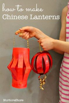 Some new twists on making Chinese New Year lanterns out of paper--decorate with glitter paint. #artsandcraftsforkidswithpaper,