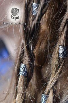 Beads for Beards or Hair Viking Rune Elder Futhark Rune pendant Rune necklace viking jewelry Rune Viking, Viking Ship, Ivar Vikings, Hard Part Haircut, Dreads, Viking Braids, Elder Futhark, Plaits Hairstyles, Viking Woman