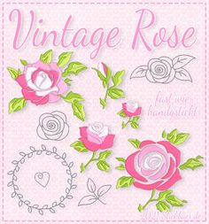 Der Stickbär | Vintage Rose | Stickmuster mit Herz