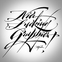 calligraphy / NFG T-shirts by Meave Tattoo Lettering Fonts, Graffiti Lettering, Typography Letters, Lettering Ideas, Lettering Design, Calligraphy Words, Calligraphy Practice, Calligraphy Alphabet, Different Lettering