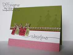 Great Christmas card idea for later... Love the use of the small tag punch