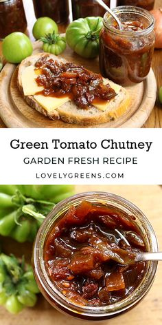 Easy green tomato chutney recipe with green tomatoes, red onions, malt vinegar, and spices. This is a delicious condiment that pairs well with cheese and bread and cured meats. You can make it in an hour and the jars last up to a year Green Tomato Chutney Recipe, Green Tomato Recipes, Green Tomato Jam Recipe Canning, Canning Green Tomatoes, Pickled Green Tomatoes, Green Chutney, Comida India, Chutney Recipes, Relish Recipes