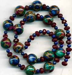 """Jasper Lapis Red Jade Beads Bronze Infused 4-12mm Rounds Mosaic GORGEOUS 16"""""""