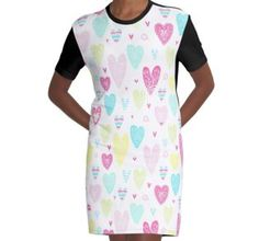 'pattern hearts doodle style valentine s day bright colorful pattern' Graphic T-Shirt Dress by Chris olivier Color Patterns, Dress Patterns, Heart Doodle, Shirt Dress Pattern, Chiffon Tops, Pattern Design, Doodles, Hearts, Short Sleeve Dresses