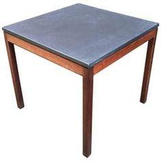 Jens Risom Slate Top and Walnut End Table