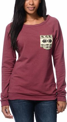 Lira Girls Desert Dusk Maroon Pocket Crew Neck Sweatshirt at Zumiez : PDP