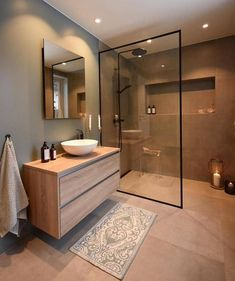 diy bathroom remodel small Unique small bathroom remodel ideas are amazing with a small budget # Scandinavian Bathroom Design Ideas, Bathroom Makeover, Stylish Bathroom, Restroom Remodel, Bathroom Mirror, Brown Bathroom Decor, Brown Bathroom, Bathroom Decor, Bathroom Inspiration