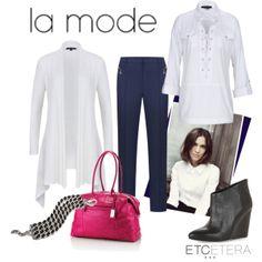 TOSCANA white cardigan, WIMBLEDON white tunic, INDIGO denim pant  Etcetera Spring Collection