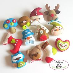 SET OF TWELVE MINI CHRISTMAS ORNAMENTS PATTERNS (PDF) This PDF document will give you instructions and patterns to hand-sew these TWELVE lovely ornaments: A Reindeer, a Snowman, a Bear, a Gingerbread man, a Mushroom, a Gingerbread house, an Owl, a Heart, two Christmas Stockings and of course Santa and a charming Elf. All of them measuring about three inches. Quick, easy, and fun to make these little friends will look perfect hanging from your Christmas tree! **You will receive an…
