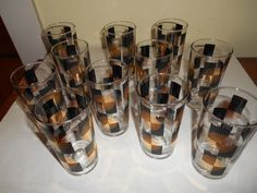 vintage Black Gold atomic Cocktail Glasses Tumblers Barware 50s girlsauction2 on ebay contact me  #50s tummblers atomic