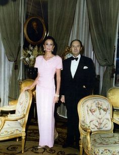 With her husband, Count Édouard de Ribes, at home in a gown of her own design, 1988.