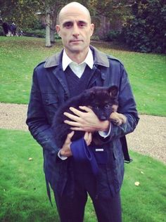 Here is a pic of Mark Strong holding a puppy. The cutest thing i've seen in a long time! Merlin Kingsman, Kingsman Harry, Mark Strong, Actors Funny, Cute Actors, Taron Egerton Kingsman, Kingsman The Secret Service, Oxford Brogues