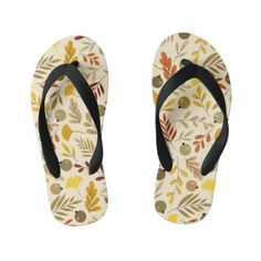 Fall Ginkgo Leaves and Olive Pattern Kid's Flip Flops Girls Flip Flops, Flipping, Keep It Cleaner, Slippers, Peach, Slip On, Leaves, Fall, Unique