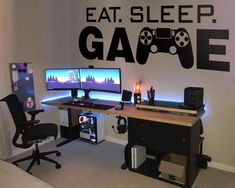 The Eat Sleep Game Wall Decal it is easy to create a new look and change the style of any gaming room in a matter of minutes. It´s Game On! Gamer Bedroom, Kids Bedroom, Bedroom Decor, Bedroom Ideas, Computer Gaming Room, Gaming Room Setup, Gamer Setup, Boys Game Room, Boy Room