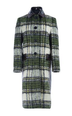 This **Burberry** coat features a leather trimmed collar, single breasted buttons at the front, and a relaxed fit.