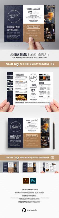 Bar Menu Flyer. Customizable professional template for a restaurant flyer. #FlyerTemplate #flyer #restaurant #GraphicTemplate #design #PrintDesign #A3Menu #ai #bar #BarFlyer #beer #BeerFestival #BeerMenu #bistro #brandpacks #CraftBeer #eps #festival #FlyerTemplates #gastropub #illustrator #LocalPub #menu #MenuFlyer #MenuTemplate #photoshop #PosterTemplate #psd #pub #PubFlyer #PubMenu #sport #template #vector Food Menu Template, Flyer Template, Menu Templates, Menu Flyer, Gastro Pubs, Restaurant Flyer, Lunch Specials, Menu Design, Design Ideas