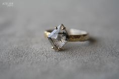 Tourmalinated Quartz Ring in 14kt Gold & Sterling Silver by ATELIER Gaby Marcos