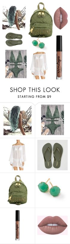 """Beach hair don't care🤘🏻"" by queen-arine ❤ liked on Polyvore featuring BLEU Rod Beattie, American Eagle Outfitters, Moschino, Ippolita and NYX"