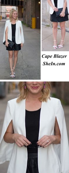 White Long Sleeve Casual Cape Blazer - Love this cape blazer!! So smart yet so chic ♥ Shein.com