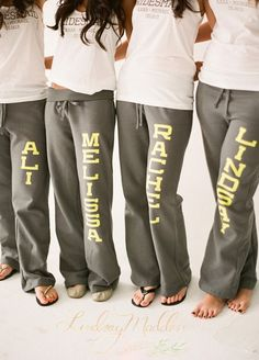 What could be more relaxing then getting ready in custom sweats? Personalized sweatpants are a cute idea that your bridesmaids can wear year-round. They also make for one great picture! Bridesmaids, Bridesmaid Gift Ideas