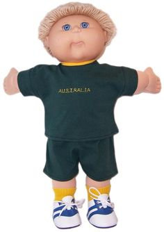 Go Aussie!  Now your doll can become a true supporter of your favourite Australian Sports team.  Top has Australia embroidered on front and fastens at the back with a Velcro strip.  Pants have an elastic waist.