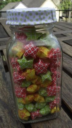 Christmas Colors, Origami Lucky Stars in a Recycled Jar by OrigamiOverflow for $6.00