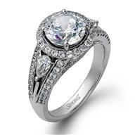 Simon G Halo 18k - White Gold Diamond Engagement Ring