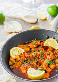 Spicy New Orleans Shrimp- shrimp, butter, olive oil, sweet chili sauce, worcestershire, chili powder, liquid smoke, smoked paprika, dried oregano, hot sauce, garlic, lemon, parsley, s/p