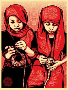 """Close Knit by Shepard Fairey  """"I chose to illustrate this image of two girls knitting (in a Rush Arts program) because I think it really captures the idea that learning art in school is about more than crayon drawings, it's about creativity, something that transcends all class and race boundries. I think the joy of making something is universal, and it's an opportunity every kid should have."""" S.F."""