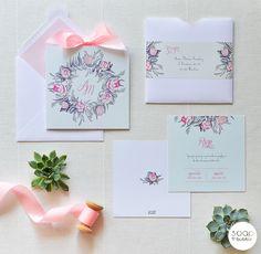 oryginalne zaproszenia ślubne, nietypowe, nowoczesne, ekskluzywne, zaproszenie z motywem kwiatów, piwonie, peonie, różowe, miętowe, pastelowe, z kokardką Wedding Invitations, Wedding Inspiration, Cards, Weddings, Design, Wedding, Wedding Invitation Cards, Maps