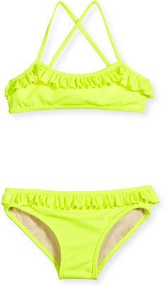 Milly Minis Italian Solid Cross-Back Ruffle Bikini, Fluo Yellow, Size 4-7