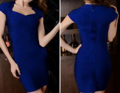 Solid Color Slimming Short Sleeves Beam Waist Polyester Women's Sexy Dress, Blue