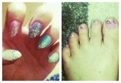 Matching fingers and toes *nail art, glitter gradient, pastel colours, shellac, acrylic tips*