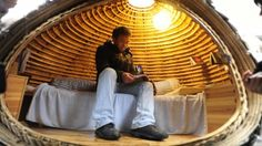 In an attempt to save money on rent Dai Haifei, a 24-year-old architect in Beijing has constructed a mobile egg-shaped home from bamboo, wood and grass seed.
