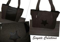 Un sac cabas marron, tissu (pantalon détourné en sac) et simili cuir : 5 rangements (rien que ça)... Sayate Créations Fait Main