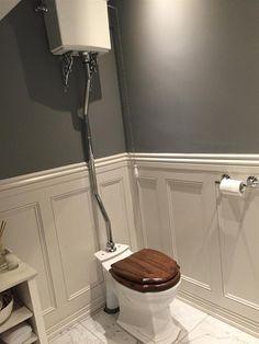 New Dark Grey Painted Furniture Farrow Ball Ideas Wooden Bathroom Floor, Dark Wood Bathroom, Bathroom Paneling, Bathroom Wall Panels, Bathroom Flooring, Wainscoting, White Washed Wood Paneling, Wooden Panelling, Wall Panelling