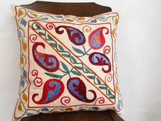 Suzani Embroidered Pillow Cover Decorative Pillow by asiapillow, $42.00
