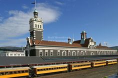 Train of the Taieri Gorge Railway at the main platform of Dunedin Railway Station, Otago, South Island, New Zealand