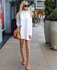 17+ Over The Knee Boot Outfit Looks To Get Inspired By: Styling tan over the knee boots can be tricky if you don't know what to do with them. Copy these over the knee boots casual winter outfits to give you a head start! | Tan thigh high boots outfit with white sweater dress. Image ©MacyStucke #overthekneeboots #overthekneebootoutfit #thighhighbootsoutfit #tanoverthekneeboots
