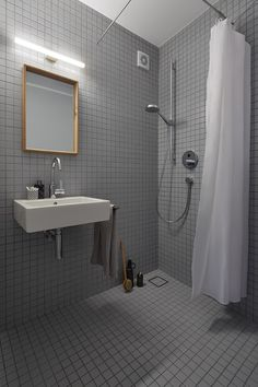 Privathaus Bonn, Gästebad, Agrob Buchtal  Mosaik Serie Plural, lichtgrau, 5x5