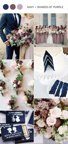 navy blue and shades of purple wedding color ideas for fall 2017:
