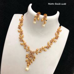 Necklace available at For booking msg on 91 9619291911 Gold Bangles Design, Gold Earrings Designs, Gold Jewellery Design, Antique Jewellery, Handmade Jewellery, Gold Necklace Simple, Gold Jewelry Simple, Necklace Set, Simple Necklace Designs